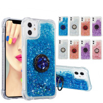 Ring Buckle Glitter Quicksand Back Cover For For iPhone 12 Pro Max 5.4 6.1 6.7 inch Solid Color Soft Phone Case For iPhone 11 Pro Max XR X XS 6 7 8 Plus 5 5S SE