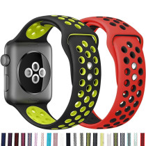 Silicone Strap For Apple Watch band 44mm 40mm 38mm 42mm Breathable wrist belt Sport bracelet iWatch serie 5 4 3 2 40 38 42 44 mm