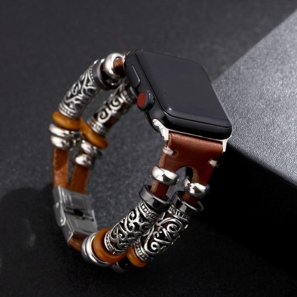 Vintage PU Leather Embossed Ornament Wristband For Apple Watch Series 5/4/3/2/1 38mm 40mm 42mm 44mm For Women Men Accessories