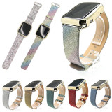 Colorful Glitter PU Leather Strap For Apple Watch 38mm 42mm Band Bracelet For iWatch Series 3 2 1 Watchband Wristband w Adapters