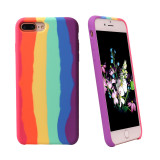 Rainbow Soft Liquid Silicone Cover For iPhone 11 Pro Max X XR XS Max 6 6S 7 8 Plus Back