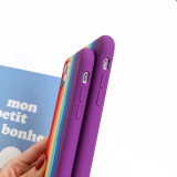 Rainbow Soft Liquid Silicone Cover For iPhone 12 Pro Max 5.4 6.1 6.7 inch Case For iPhone 11 Pro Max X XR XS Max 6 6S 7 8 Plus Back Coque Full Cover