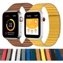 Leather Loop Strap for Apple Watch Band 44mm 40mm 42mm 38mm Magnetic Loop Band Bracelet for iwatch 5 4 3 Accessories