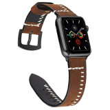 Genuine Leather Strap For Apple watch series 4 5 40mm 44mm band Seven Word Line Leather watchband For Iwatch 3 2 1 38mm 40mm