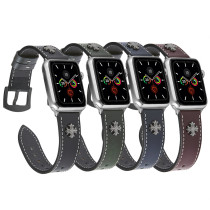 Two Stars Rivets Band for apple watch Series 5/4/3/2/1 sport loop strap correa iwatch 38mm 40mm bracelet apple watch 44/42mm Leather belt