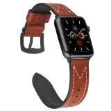 M-shaped Leather Band for apple watch Series 5/4/3/2/1 sport loop strap correa iwatch 38mm 40mm bracelet apple watch 44/42mm Leather belt