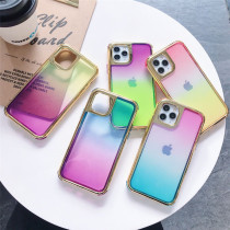 Plating Double Color Gradient Phone Case For iPhone 11 Pro Max Cover Colorful