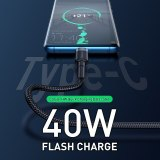 Baseus 5A USB Type C Cable For Huawei Mate 20 P30 P20 Pro Lite Fast Charging USB-C Charger USB C Type-c Cable For Xiaomi mi 9 8