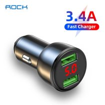 ROCK 3.4A LED Digital Display Car Charger Dual USB Fast Charging QC Phone Charger Adapter For iPhone 12 11 Pro Max Xiaomi Redmi