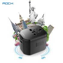 ROCK Travel Power Adapter All in One Worldwide International Universal Wall Charger AC Plug Adaptor 3.0A USB Type-C For USA EU