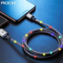 ROCK 1m Metal charging Mobile Phone Cable USB Type C Flow Luminous Lighting Data Wire for Samsung Xiaomi iphone SE 8 7 6 Xs max