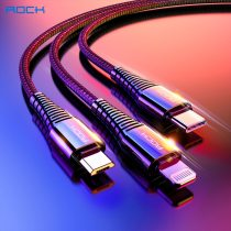 ROCK 3 in 1 USB Cable Charging Micro USB Cable For iPhone 11 pro max XR XS X 8 7SE Android TypeC Mobile Phone Cables For Samsung