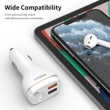 ROCK 2in1 Car Charger Earphone Fast Charging QC3.0 Dual USB Car Adapter with Bluetooth V5.0 Hands Free Wireless Headset with Mic
