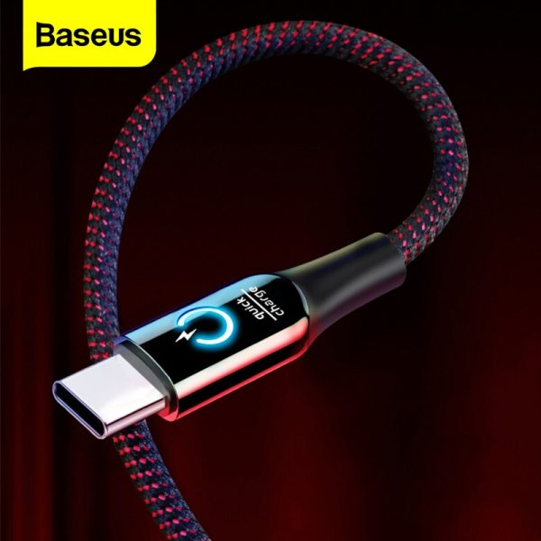 Baseus 3A Smart Power Off USB Type C Cable Qick Charge Type-c Cable For Samsung S10 S9 S8 Plus Oneplus 6t 6 5t USB C USB-C Cable