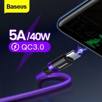 Baseus 5A USB Type C Cable For Huawei Mate 20 P30 P20 Pro Fast Charging Charger USBC Type-C Cable For Samsung S10 Xiaomi mi 9 8