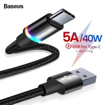 Baseus USB Type C Cable For Huawei Mate 30 20 P30 P20 Pro Lite 5A 40W USBC Fast Charging Charger USB-C Type-C Cable Wire Cord