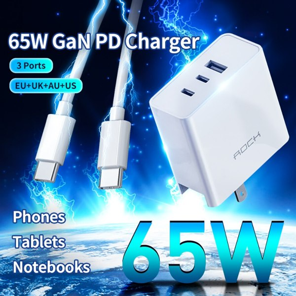 ROCK 65W GaN Tech Charger 3 Ports USB Type C PD Fast Charger with QC 4.0 3.0 for Xiaomi iPhone Samsung Huawei Tablet Laptop