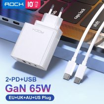 ROCK 65W GaN Charger for Laptop iPhone Macbook 3 Port USB Type C QC 4.0 Fast PD Charger Foldable Adapter Wall Charger for Xiaomi