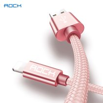 ROCK Metal USB for iPhone XS Max XR X 8 7 6 6s Plus Fast For iPad Holder 2 in 1 Nylon Braided Fast Data Charging Cable