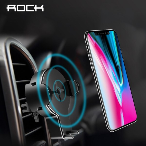 ROCK Car Mount Qi Wireless Charger For iPhone X 8 Plus Samsung S9 S8 Flash Wireless Charging Pad 5W Fast Wireless Charging Pad