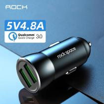 ROCK All Metal Dual USB 4.8A Car Charger For iPhone Xs max/XR/x/7/6s QC 3.0 Mini Car Charger Adapter for Note 9/Galaxy S10/S9/S8