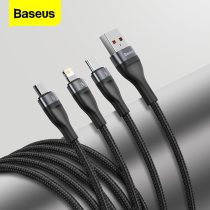 Baseus 5A Type C Cable For Huawei Samsung Xiaomi Fast Charging USB Cable For iPhone 11 Micro USB Charger Cable 3 in 1 Data Wire