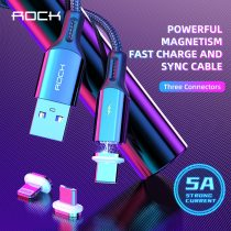 ROCK Magnetic USB Cable Fast Charging Micro USB Type C Lighting Led Light Cable For iPhone Xiaomi Magnetic Charger Data