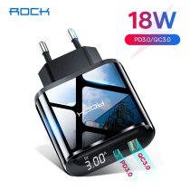 ROCK 18W PD Charger Dual Port Quick Charge 3.0 USB Type C Fast Charger For iPhone Samsung Xiaomi Huawei Portable Phone Charger