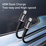 Baseus USB C To USB Type C Cable For Redmi Note 10 Pro PD 60W QC 3.0 Quick Charge USB-C Cable For Xiaomi Redmi 8 Pro Samsung S9