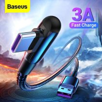 Baseus USB Type C Cable 3A Fast Charging For Samsung S20 Huawei P40 90 Degree USB C Data cable For Xiaomi Mi 10 9 USBC Wire Cord