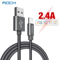 ROCK USB Cable For iPhone Xs Max Xr X 11 8 7 6 6s 5s iPad 2.4A Fast Charging Data Cord Mobile Phone Quick Charger Sync Wire