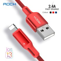 ROCK USB Cable for iPhone SE 11 Xs Max Xr X 8 7 6Plus 6s 5s iPad Mini 5 Fast Charging Cables for iPad Air 3 2.4A Data Cord Cable