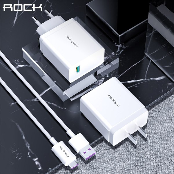 ROCK Quick Charge 3.0 USB Charger With 1M Cable 18W USB Type C Fast Charger Wall Phone Charger For iPhone Samsung Xiaomi Huawei