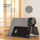 ROCK 10W Wireless Charger Pad for iPhone 11 Samsung S10 S20 3 in 1 PU Leather Wireless Charger Stand for Airpods 2 1 Pro iWatch