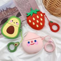 3D Fruit For Apple AirPods 2 Earphone Case  Peach Strawberry Avocado Cartoon Silicone Protect  Accessories with Finger Ring Strap