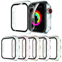 Transparent Bling Screen Protector Cover for Apple Watch SE Case Series 6 5 4 3 PC Bumper for iWatch 40mm 44mm 38mm 42mm Film