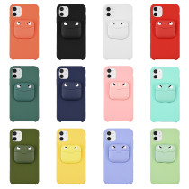 2 in 1 Liquid Silicone Phone Case Earphone Storage Box Cover For iPhone 11Pro XS MAX XR X XS 7 8 Plus Solid color Earphone Cover