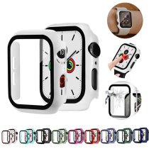 Watch Cover Case for Apple Watch 6/5/4 40MM/44MM PC Bumper Frame with Glass Protector Film for IWatch Accessories 3/2 38MM/42MM