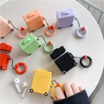 For Airpods 2 Case Suitcase Trunk Luggage Case Earphone Cover Funda with Finger Ring Strap