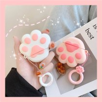 Cute Cartoon Pink Cat Claw Pattern Earphone Cases For Apple Airpods 2 Cover Funda with Finger Ring Strap
