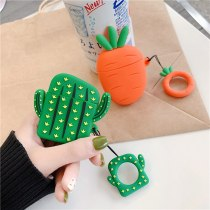 For AirPods 2 Case Cute Cartoon Earphone Cases For Apple Airpods 2 Cactus Carrot Protect Cover Funda with Pendant