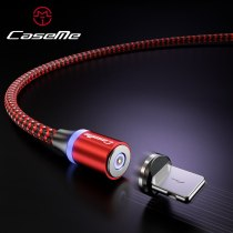 CaseMe LED Magnetic Adsorption Cable For Type C Cable Micro USB Fast Charging 3 in 1 Nylon Wire Detachable Magnetic Phone Cable