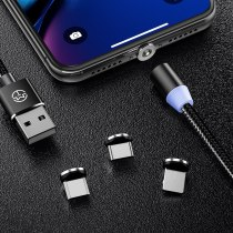 CaseMe 3 in 1 LED Magnetic Cable For iPhone XS Max Nylon Braided Detachable Magnet For iPhone 7 6s 8 Plus XR Fast Charging Cable