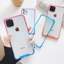 Shockproof Clear Case For iPhone 11 Pro Max Back Cover For iPhone 12 Pro Max Gradient Colorful Bumper Phone Case