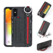 Wallet Phone Case with Wrist band For iPhone 11Pro Max Back Cover For iPhone 12 Pro Leather Card Slot Ring Rope Case