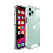 Soft Silicone Case For iPhone 11 Pro Max Hard PC Anti-Shock Back Cover For 12 Pro Max 12mini Square Transparent Phone Case