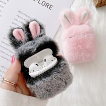 Soft Rabbit Ear Fur Case for AirPods 1 2 Wireless Charging Fluffy Box with Carabiner Plush Cover for Airpods Pro Protector Case