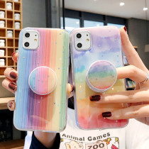 Fashion Soft Back Cover For iPhone 12 11 Pro Max Mini 11Pro Silicone Rainbow Phone Case with Bracket