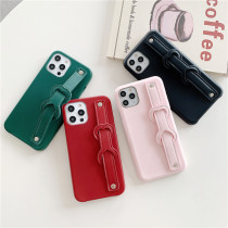 PU Leather Cover Phone Holder For iPhone 12 12Pro Max 11 11Pro For INS Stretch Wrist Strap iPhone Case