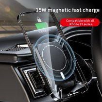 The new 15W magnetic charger frame is used for iPhone 12 ultra-fast charging with vent mounting magnet wireless mobile phone cha